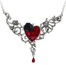 The Blood Rose Heart Thorny Roses Red Crystal Drop Necklace P721 Alchemy... - $65.95