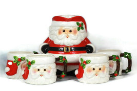 Vintage 1979 Fitz and Floyd Santa Pitcher & Cups Mugs Set Handpainted Japan - $109.88