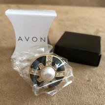 AVON Deco Fab adjustable Ring womens jewelry new in box black art gold tone - $12.38