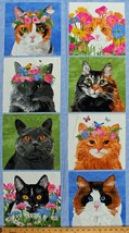 "23.5"" X 44"" Panel Cats Kittens Flowers Floral Cat Types Cotton Fabric D7... - $9.76"
