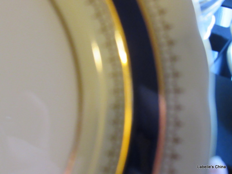 "Pentland 8"" Salad Plate Fine Bone China Cobalt & Gold Made in England by Aynsley image 1"