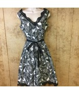 Adrianna Papell Dress Size 6 Black White Sleeveless Floral Lace Trim Ret... - $28.21