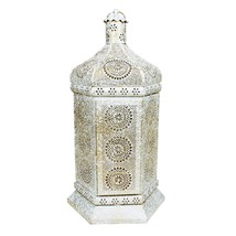"Northlight 21.5"" Distressed White Gold Moroccan Floral Table Lantern Lamp - $84.14"