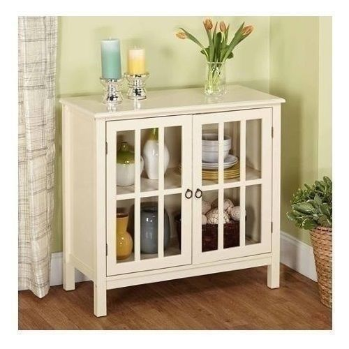 White Glass Door Buffet Sideboard China Storage Cabinet Server Curio Display