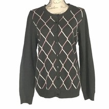 Croft & Barrow Med Sweater Cardigan Gray White Pink Chain Link Button Do... - $24.18