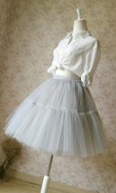 LIGHT GRAY Full Tulle Skirt Knee Length Ballerina Skirt Gray Skirt Plus Size NWT image 7