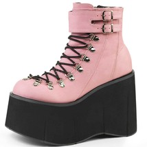 DEMONIA Goth Wedge Ankle Boot Lace up Ankle Cuf... - $77.95