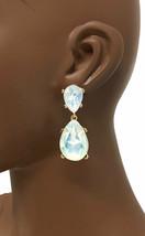 """2"""" Long Fake Opal Baby Blue Teardrop Post Earrings Pageant Evening Casua... - $11.07"""