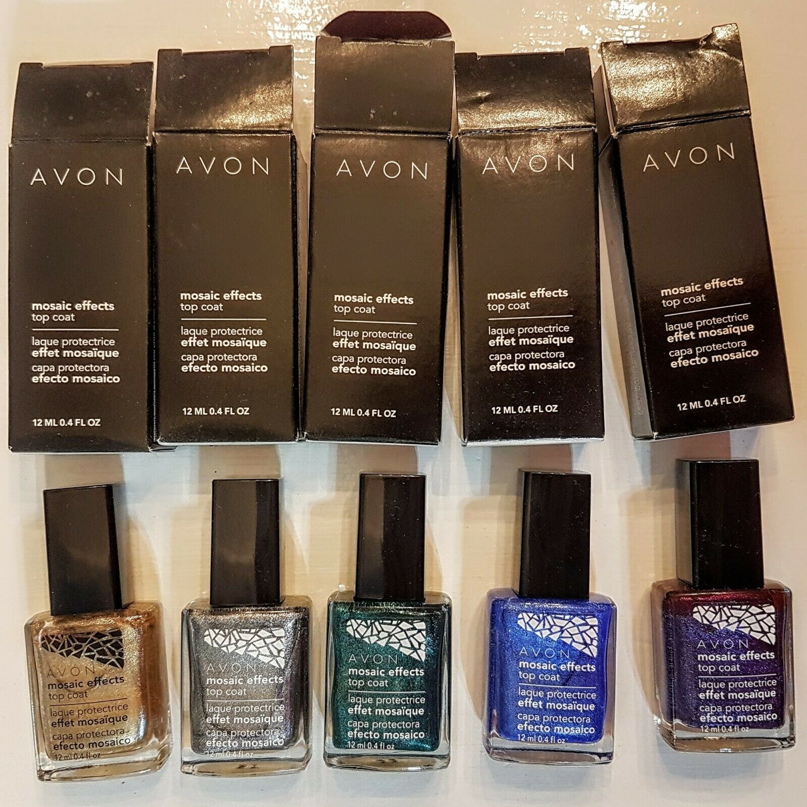 Primary image for Avon Mosaic Effects Nail Enamel CHOICE Silver Gold Green Blue Plum White Polish
