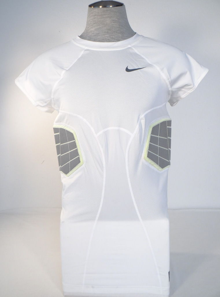 494c11f0 S l1600. S l1600. Previous. Nike Pro Combat Dri Fit Hyperstrong White Padded  Compression Football Tank Mens