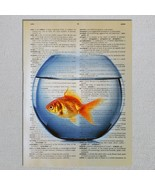Goldfish in fishbowl fish Dictionary Page Art Print - $11.00