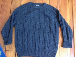 Vtg Members Only 100% Shetland Wool Heather Charcoal Gray Cable Knit Swe... - $20.99