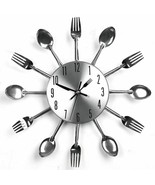 Modern Design Silver Cutlery Kitchen Utensil Clock Spoon Fork Knife Bend... - $19.30
