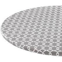 Lattice Vinyl Elasticized Table Cover-Gray-42x68-Oblong - $20.24