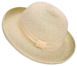 Lullaby Womens Foldable UPF 50+ Wide Brim Bucket Straw Sun Hat Mix Beige - $16.23
