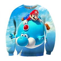 Super Mario Blue Yoshi Fly Cute Trendy Gaming Sweatshirt - $39.99