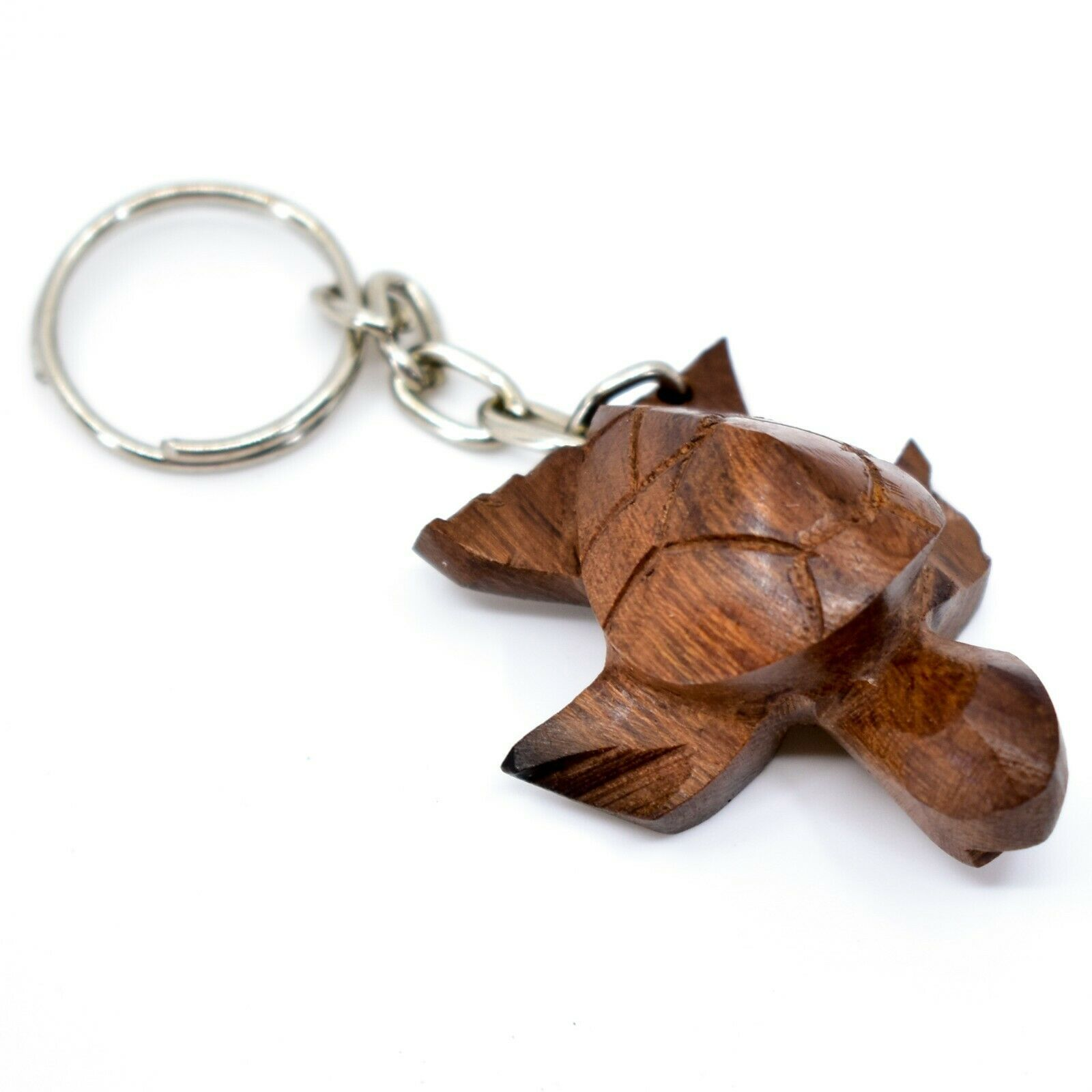 Hand Carved Ironwood Wood Folk Art 3D Sea Turtle Keychain
