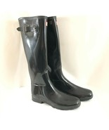 Hunter Womens Rain Boots Original Refined Gloss Adjustable Rubber Black ... - $96.74