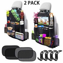 Car Backseat Organizer 2 Pack 11 Storage Pockets Kick Mats with 10'' Touch Scree