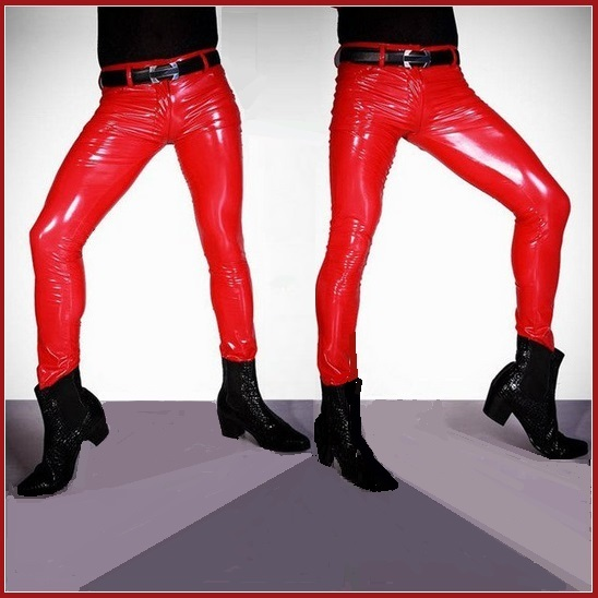 "Men's RED Skin Tight ""Wet Look"" Front Zip Stretch Faux Latex Leather Pants"