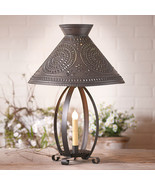 BETSY ROSS COLONIAL TABLE LAMP with Pierced Chisel Pattern Shade in Kett... - £121.77 GBP