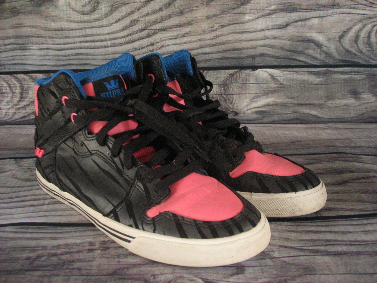 Primary image for Supra High Top Pink Blue Black Striped Shoes Size Womens 10 Used