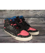 Supra High Top Pink Blue Black Striped Shoes Size Womens 10 Used   - $24.74