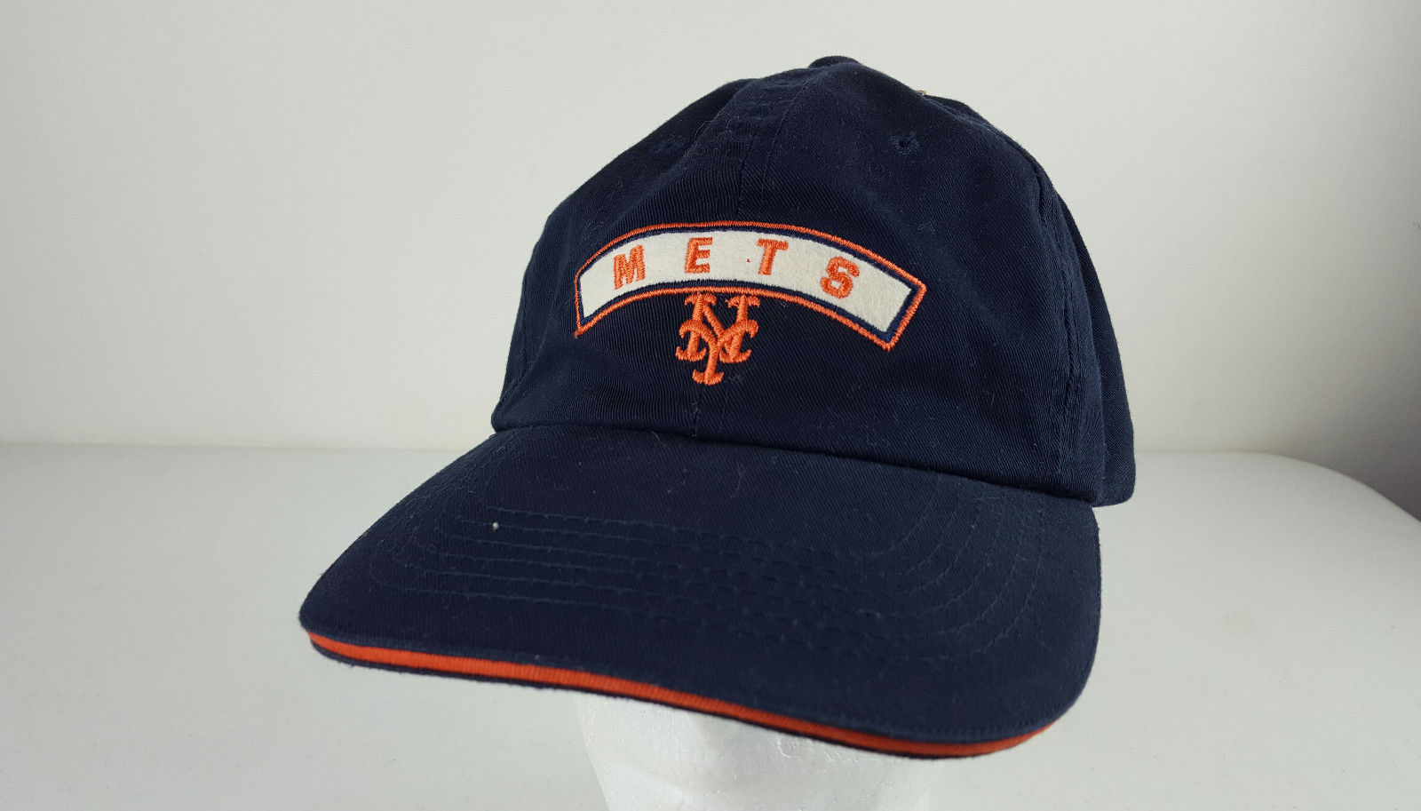 ae268a6ded4 S l1600. S l1600. New York Mets Embroidered Logo on Blue Adjustable  Baseball Hat American Needle
