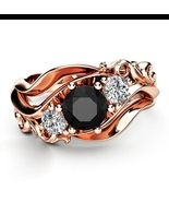Huitan Witch Ring Unique Black Stone Prong Setting Twist Band Design Ros... - $13.00+