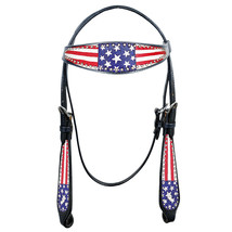 Hilason Western Horse Headstall American Leather Black US Flag U-K-HS - $59.35