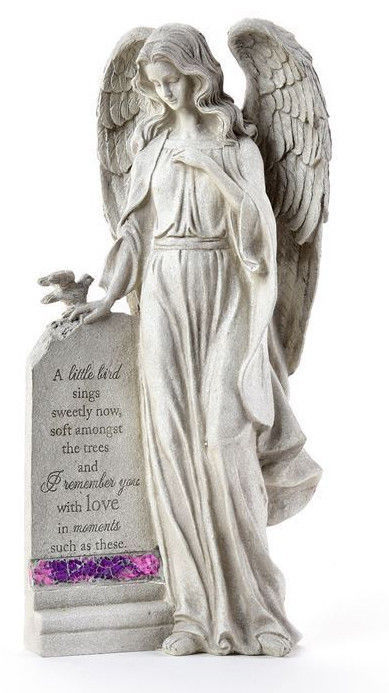 "16"" Memorial Standing Angel Design Garden Stone with Sentiment"