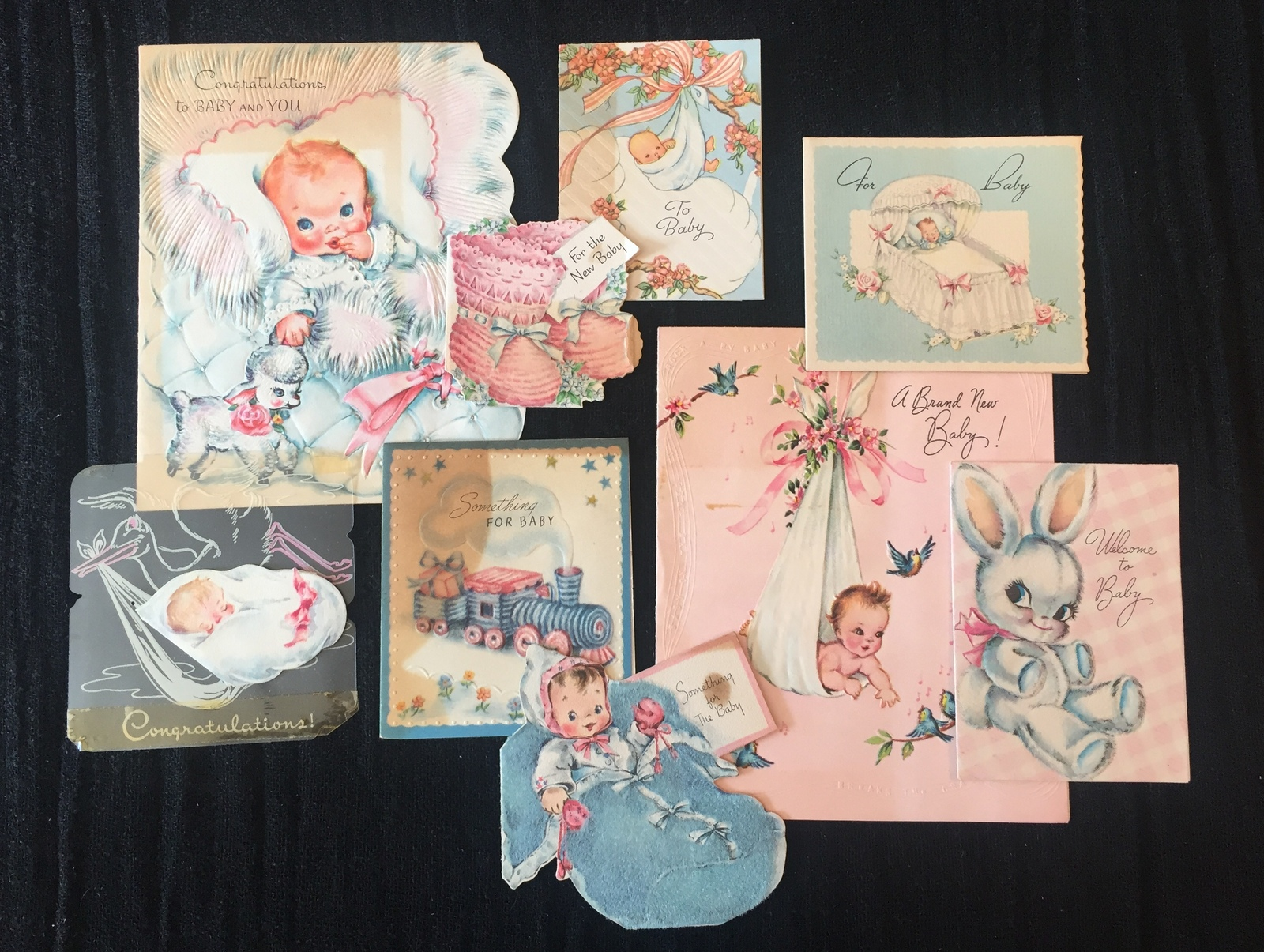Set of 9 Vintage 40s illustrated Birth/Baby card art (Set A)