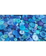 100 Mixed Blue Wave Bulk Buttons - random assortment, multi button sizes - $9.00