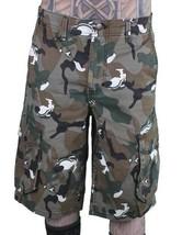 LRG Men's Khaki Wolf Camouflage Unnatural Palette Cargo Walk Shorts 28
