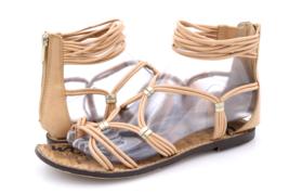 Sam Edelman Womens 7.5M Beige Gianni Leather Flat Gladiator Sandals EUR 37.5 - $19.99