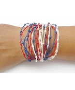 Handcrafted Red White Blue Wax Cotton FAIR TRADE Womens BRACELET Wristband - $5.61