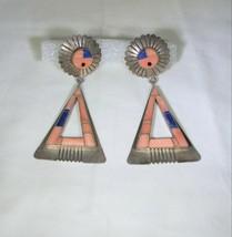 Oscar Alexius Navajo Spiny Oyster Lapi Lazuli Inlay Sunface Sterling Sil... - $296.01