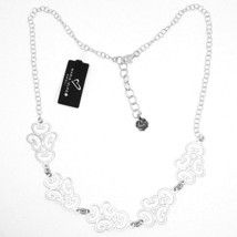 SILVER 925 NECKLACE, SATIN, PATTERN FLORAL BY MARY JANE IELPO, MADE IN ITALY image 2