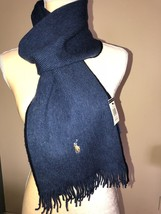 Polo Ralph Lauren Shale Blue Merino Wool Scarf With Signature Pony NWT - £39.75 GBP