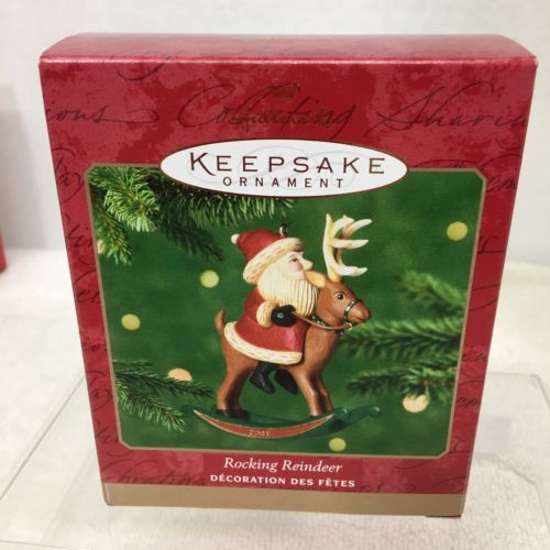 Primary image for 2001 Rocking Reindeer  Hallmark Christmas Tree Ornament MIB Price Tag H8