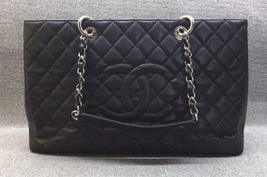 AUTHENTIC CHANEL QUILTED CAVIAR XL GST GRAND SHOPPING TOTE BAG BLACK SHW