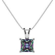 14K Solid White Gold Pendant Necklace | Princess Cut Rainbow Mystic Cubi... - $178.97