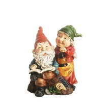 "11.5"" Reading Forest Gnome Couple w/ Solar Powered LED Lantern Outdoor S... - $43.30"