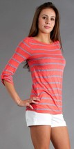 Splendid Chambray Mixed Striped Boat Neck Top Knit Pink/Gray Stripe Smal... - $28.71