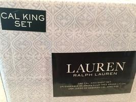 Ralph Lauren Medallion CALIFORNIA KING  4p Sheet Set Light Blue White FA... - $97.52