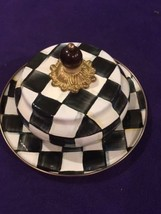 Mackenzie Childs Courtly Check Covered Butter House Dish - Rare & Retired  - $123.75