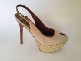 Sam Edelman Peek Toe Sling Back Jute Wrapped Base Platform Heels Shoe 6 - $28.92