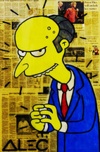"Alec Monopoly oil Painting on Canvas graffiti art Mr. Burns Simpsons 28x36"" - $29.69"