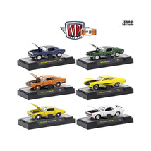 Detroit Muscle 6 Cars Set Release 39 IN DISPLAY CASES 1/64 Diecast Model Cars by - $51.45