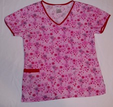 Cherokee Scrub Top Sz Xs Pink Flowers Hearts Ss Shirt Cotton V-Neck Style 2846C - $11.97